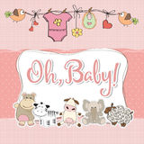 Baby girl shower card with animals. Vector format Royalty Free Stock Photo
