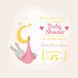 Baby Girl Shower Card with Baby Bunny Royalty Free Stock Photography