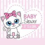 Baby girl shower card. Cute cat with heart and space for text Royalty Free Stock Photos