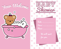 Baby girl shower card. Bear in the bath Royalty Free Stock Photo