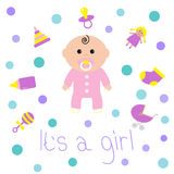Baby girl shower card Bottle, horse, rattle, pacifier, sock, doll, baby carriage, pyramid toy. Its a girl. White background  Royalty Free Stock Images