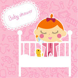 Baby girl shower card. Cartoon Stock Photo