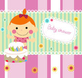 Baby girl shower card. Cartoon Stock Photography
