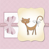 Baby girl shower card with cat. New baby girl shower card with cat Stock Image