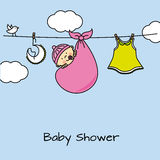 Baby girl shower card. Baby girl and clothes Royalty Free Stock Photos