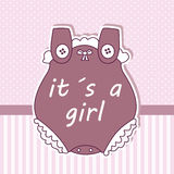 Baby girl shower card. Baby clothes Royalty Free Stock Image