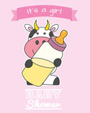 Baby girl shower card. Cow with baby bottle Stock Image