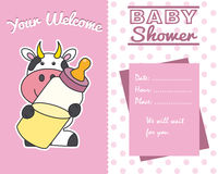 Baby girl shower card. Cow with baby bottle Stock Photo