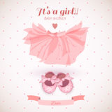 Baby girl shower card. Cute baby girl shower card Stock Photo