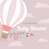 Baby girl shower card with hot air balloon Stock Photography