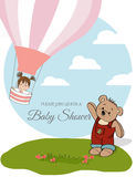 Baby girl shower card with hot air balloon Royalty Free Stock Images