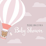 Baby girl shower card with hot air balloon Royalty Free Stock Photo