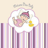 Baby girl shower card. Illustration in  format Royalty Free Stock Images