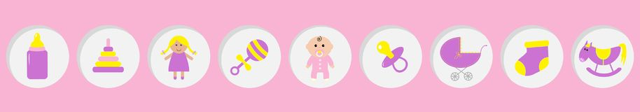 Baby girl shower card. Its a girl. Bottle, horse, rattle, pacifier, sock, doll, baby carriage pyramid toy. Round icon set line. Isolated. Pink background Flat vector illustration