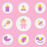 Baby girl shower card.  Its a girl. Bottle, horse, rattle, pacifier, sock, doll, baby carriage pyramid toy. Pink background Flat  Stock Photo