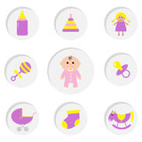 Baby girl shower card.  Its a girl. Bottle, horse, rattle, pacifier, sock, doll, baby carriage pyramid toy. Round icon set.  Stock Image