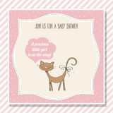 Baby girl shower card with little cat Royalty Free Stock Photo
