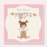 Baby girl shower card with little girl and her teddy bear vector illustration