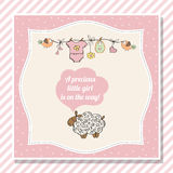 Baby girl shower card with little sheep Stock Photo