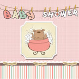 Baby girl shower card with little  teddy bear Stock Photography