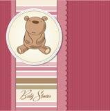 Baby girl shower card with little  teddy bear Stock Photo