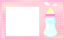 Baby girl shower card. Pink background as greeting card for newborn. Stock Photos