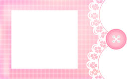 Baby girl shower card. Pink background as greeting card for newborn. Royalty Free Stock Images