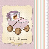 Baby girl shower card with retro strolller Royalty Free Stock Photography