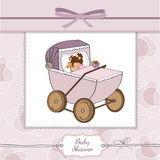 Baby girl shower card with retro strolller Stock Photo