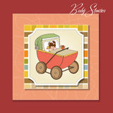 Baby girl shower card with retro strolller Stock Photography