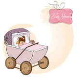 Baby girl shower card with retro strolller. Illustration Royalty Free Stock Image