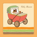Baby girl shower card with retro strolller Royalty Free Stock Images