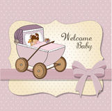 Baby girl shower card with retro strolller. Baby girl shower card,  illustration Royalty Free Stock Photos