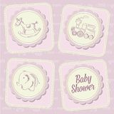 Baby girl shower card with retro toys Royalty Free Stock Photo