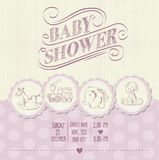 Baby girl shower card with retro toys Royalty Free Stock Photography
