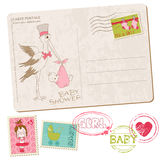 Baby Girl Shower Card with set of stamps. In Royalty Free Stock Photography