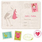 Baby Girl Shower Card with set of stamps Royalty Free Stock Photo