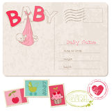 Baby Girl Shower Card with set of stamps. Baby Girl Shower Card with set of nice stamps Stock Photo