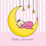 Baby girl shower card. Baby sleeping on the moon. baby girl shower card Stock Photo
