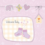 Baby girl shower card with socks. Illustration in vector format Royalty Free Stock Photo