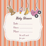 Baby girl shower card. Space for text or photo Stock Photo