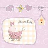 Baby girl shower card with stroller. Illustration in vector format Stock Image