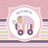 Baby girl shower card Stock Photos