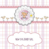 Baby girl shower card. Vector eps10 Royalty Free Stock Photos