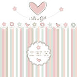 Baby girl shower card. Vector illustration Royalty Free Stock Photo