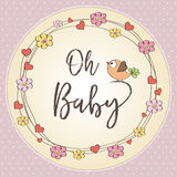 Baby girl shower card. Vector illustration Royalty Free Stock Images