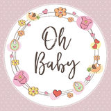 Baby girl shower card. Vector illustration Royalty Free Stock Image