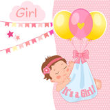 Baby Girl Shower Card Vector Illustration. It`s A Girl. Kids Invitation Card Design With Little Sleep Baby. Baby Girl Shower Card Vector Illustration. It`s A Royalty Free Stock Photography