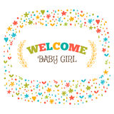 Baby girl shower card. Welcome baby girl. Baby girl arrival post Stock Photography