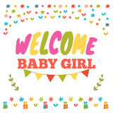 Baby girl shower card. Welcome baby girl. Baby girl arrival post Royalty Free Stock Image